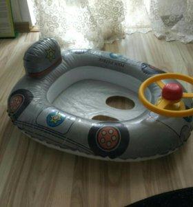Надувной круг для плавания машинка с рулем