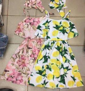Новые платья сарафан цветы лимоны розы оборки пояс