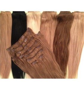 Натуральные волосы на заколках 60см, новые