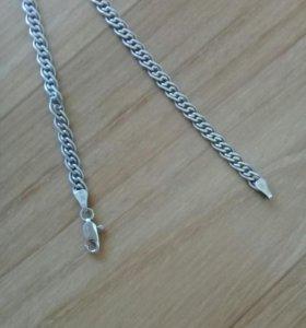 Серебренная цепь мужская 55см