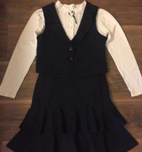 Школьная форма для девочки , жилетка-юбка,синие130