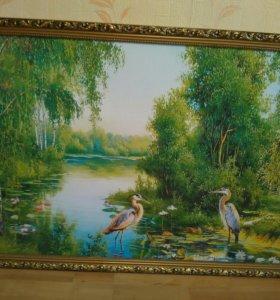 """Картина""""Аисты на пруду"""""""