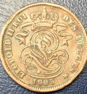 Монета Бельгии, 2 сантима 1905 (DES)