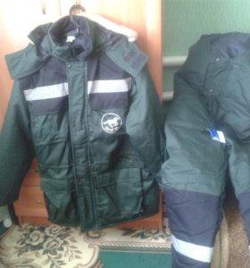 Мужской костюм зимний куртка и комбез. размер 54