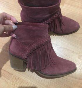 Замшевые ботинки ботильоны bershka