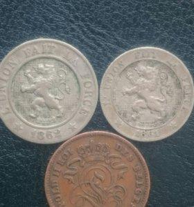 Монеты старой Бельгии 1861-1905 Г.