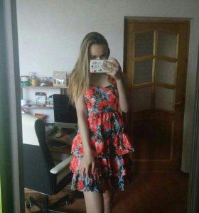 Новое платье сарафан цветы розы оборки пышное