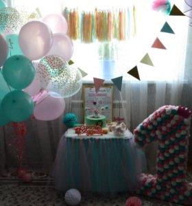Декор на первый день Рождения девочки