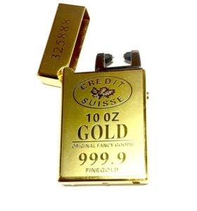 Дуговая зажигалка электронная usb слиток золота