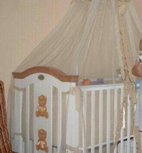 Бортики + Балдахин на детскую кроватку
