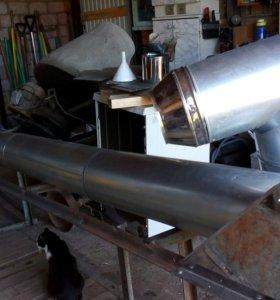 Сендвич труба внутр.нерж.150мм 5.5метров с рамой.