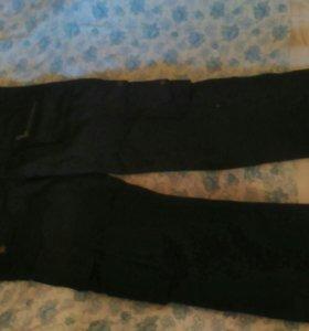 Брюки-джинсы с карманами теплые