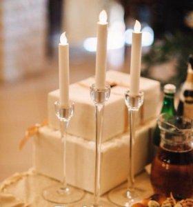 Подсвечники со свечами, набор