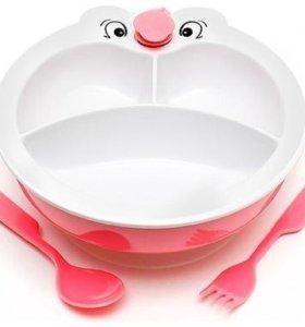 """Набор посуды Сказка""""Мордочка""""тарелка с подогревом"""