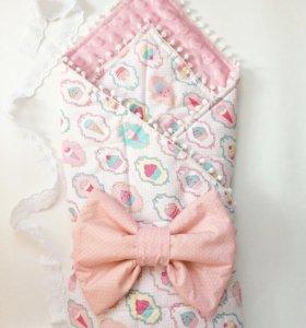 New!Конверт на выписку(плюшевое одеяло+100%хлопок)