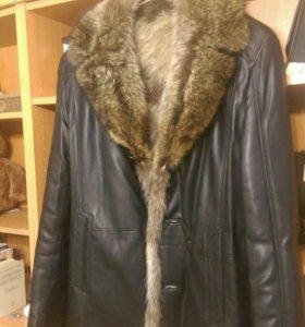 Мужская зимняя куртка, натуральная кожа, мех