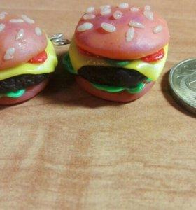 Серьги чизбургер