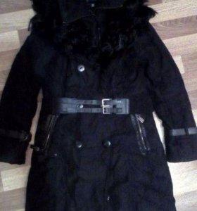 Кашемировое пальто s кролик возможен обмен зимнее