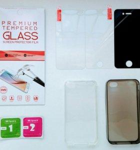На iphone 4/4s защитные стекла и чехлы