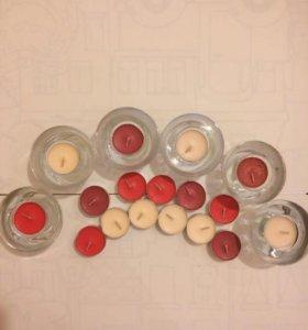 6 Подсвечников и 34 ароматизированные чайные свечи