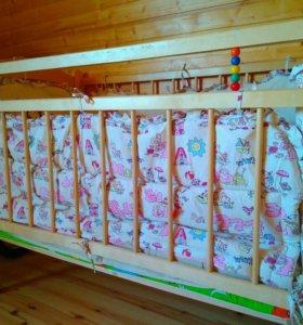 Кроватка детская с матрасом и бортиками