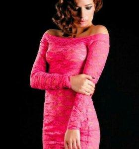 Платье с рукавами и стринги розовые