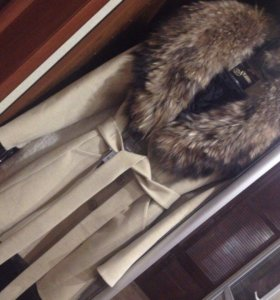 Пальто шерстяное с натуральным мехом  ( зима )