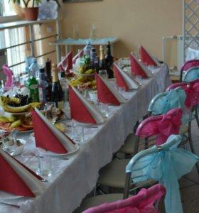 Оформление зала, банты на стулья, ткань для украше