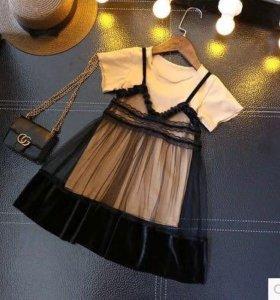 Костюм футболка+кружевное платье