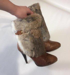 Сапоги б/у нат.мех кролик