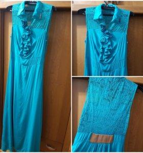 Платье в пол.Бирюзового цвета.