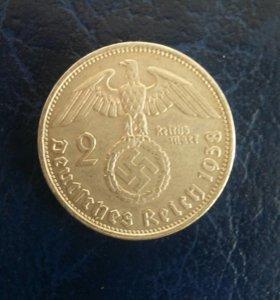 Германия 2 Марки 1938 год серебро