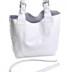 Белая кожаная сумка в стиле Zara