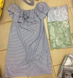 Новое платье сарафан полоска оборки рюши пояс бант
