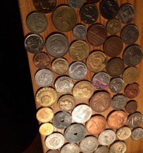 53 иностранных монет без повторов +жетон