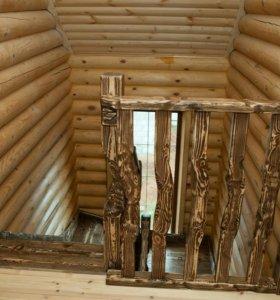 Лестницы из массива дерева с эффектом старения