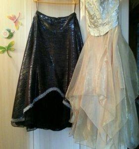Золотое выпускное платье и вторая юбка