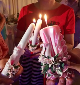 Свадебный набор резные свечи