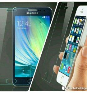 На IPhone и Samsung защитные стёкла