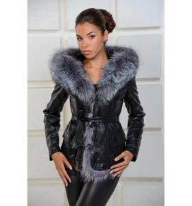 Кожанная зимняя куртка