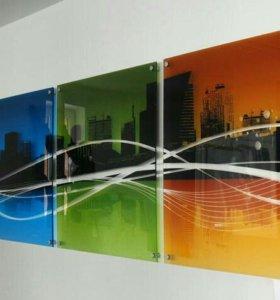 Модульные картины на стекле с вашим фото