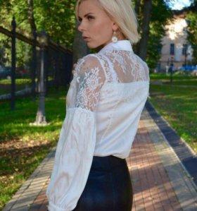 Блузка кружево белая шифон рубашка