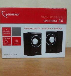 Акустич. система 2.0 Gembird SPK-204 черный