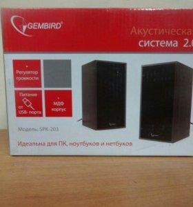 Акустич. система 2.0 Gembird SPK-203 черный