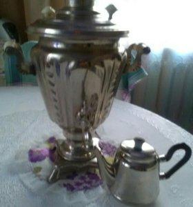 Самовар и чайник из нержавейки.