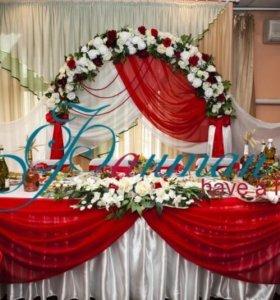 Оформление зала свадебного