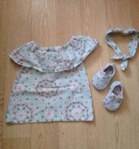 Платья и обувь комплект (новые) 68 размер