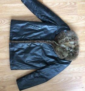 Зимняя кожаная куртка, с мехом..