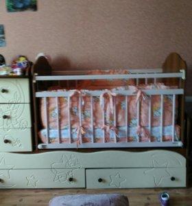 Продам детскую кроватку 2в1 ( трансформер)