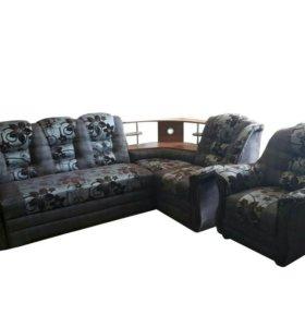 """0253 диван угловой """"Аделина"""" с баром и креслом"""